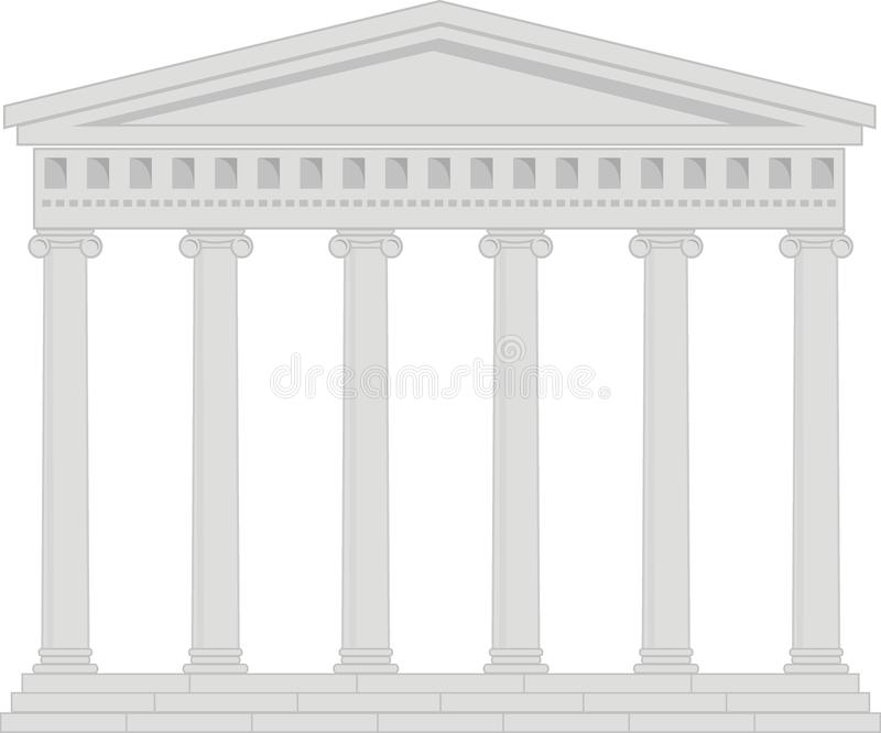 Portico (Colonnade), an ancient temple. Illustration of architectural element - Portico (Colonnade), an ancient temple: vector, grey, isolated, white background royalty free illustration