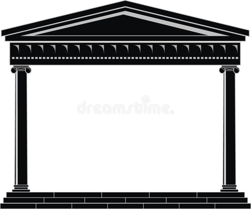Portico (Colonnade), ancient temple. Illustration of architectural element - Portico (Colonnade), an ancient temple: black, isolated vector, white background vector illustration