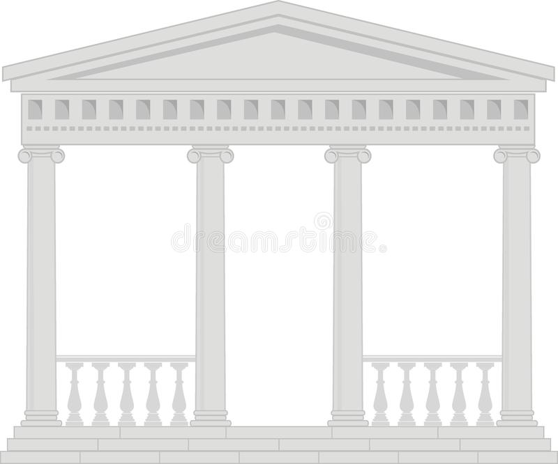 Portico (Colonnade), ancient temple. Illustration of architectural element - Portico (Colonnade), an ancient temple: isolated vector, white background royalty free illustration