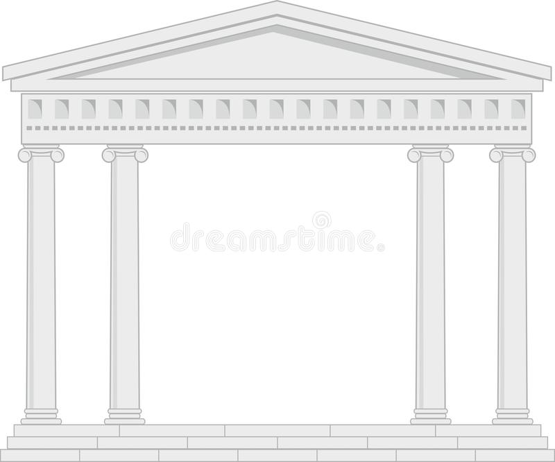 Portico (Colonnade), an ancient temple. Illustration of architectural element - Portico (Colonnade), an ancient temple: grey, vector isolated, white background royalty free illustration