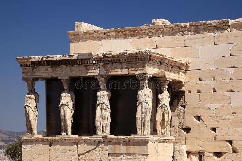 Portico del Caryatid del erechtheion fotografia stock libera da diritti