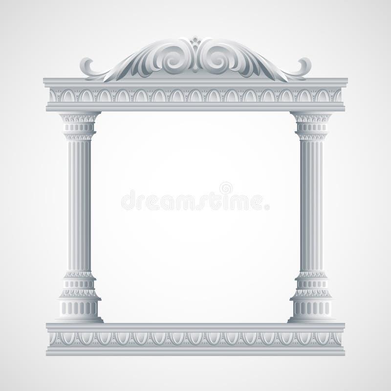 Portico ett forntida tempel colonnade vektor stock illustrationer