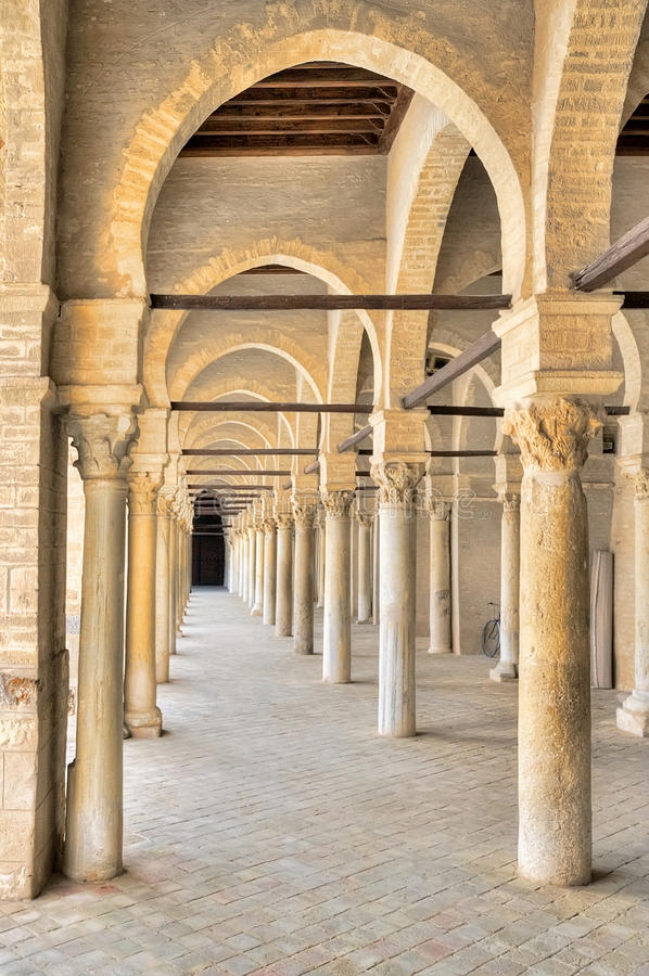 Portico of the Great Mosque in Kairouan stock images
