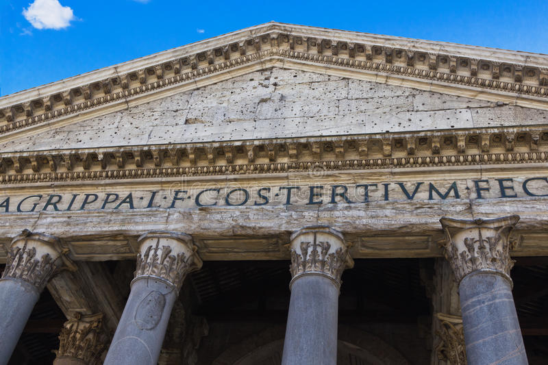 Portico of the Pantheon, Rome. The columns and facade of the ancient Roman temple in the Piazza della Rotonda in the Centro Storico district in the heart of Rome royalty free stock images