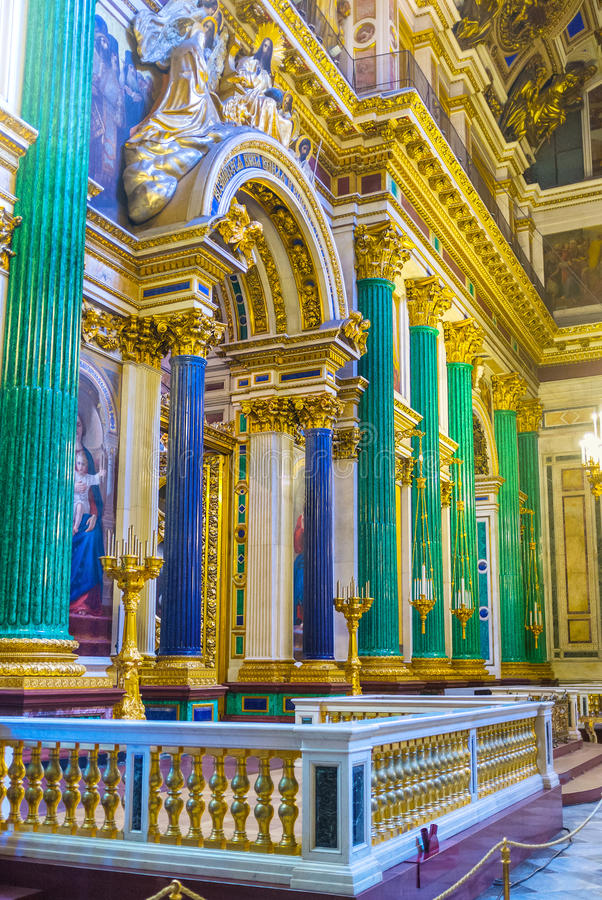 The portico in St Isaac's Cathedral of St Petersburg. SAINT PETERSBURG, RUSSIA - APRIL 25, 2015: The iconostasis of St Isaac's Cathedral is framed by stock image