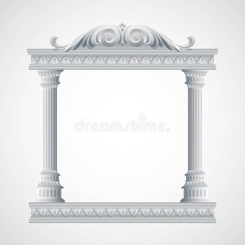 Portico um templo antigo colonnade Vetor ilustração stock