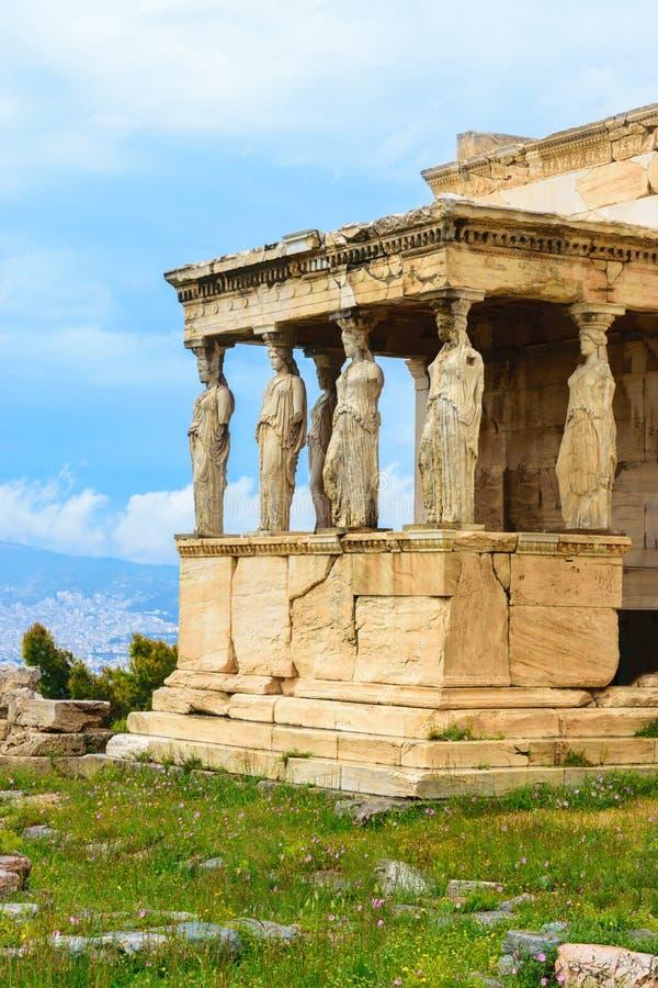 Portiek van de Kariatiden van de oude Griekse tempel van Erechtheion royalty-vrije stock afbeelding