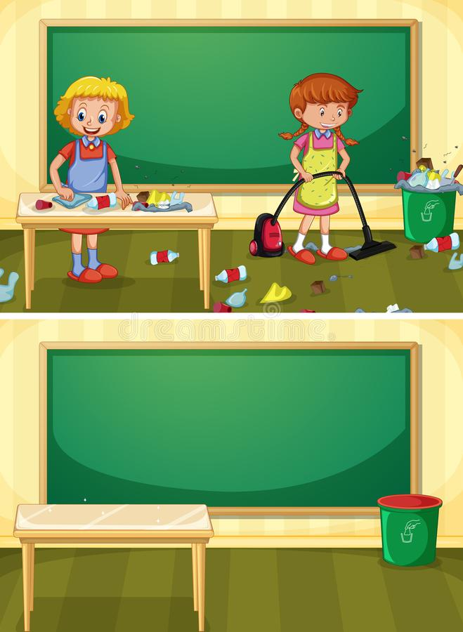 Portier Cleaning Dirty Classroom royalty-vrije illustratie