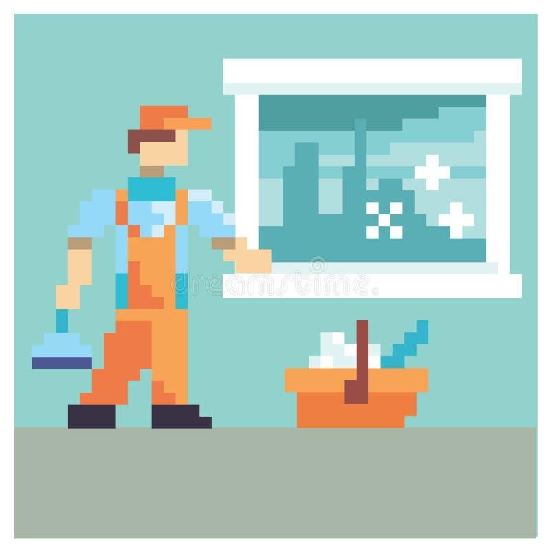 Portier dans l'art de pixel illustration stock