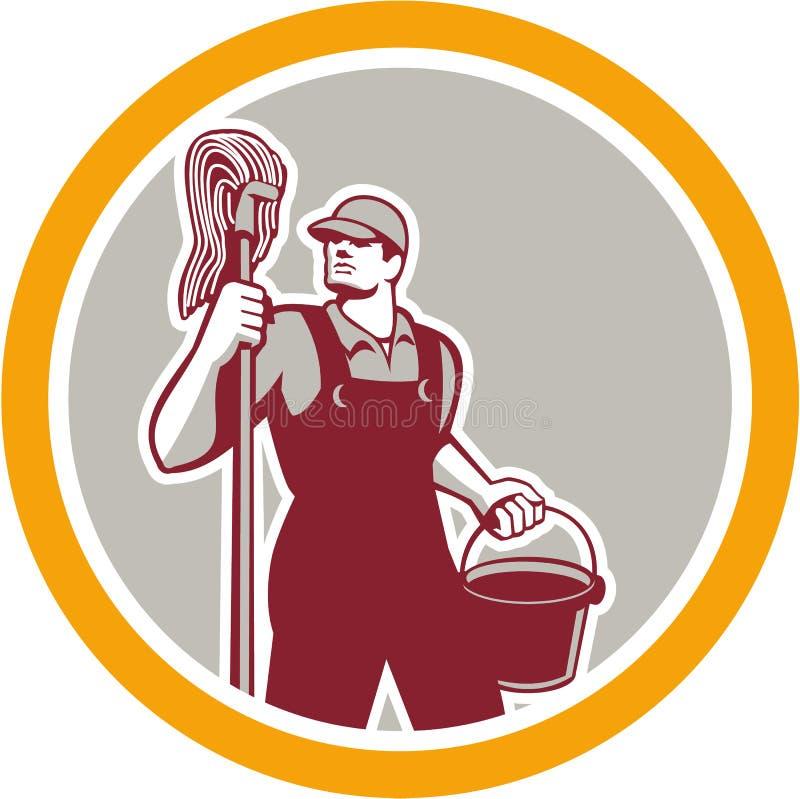 Portier Holding Mop et cercle de seau rétro illustration libre de droits