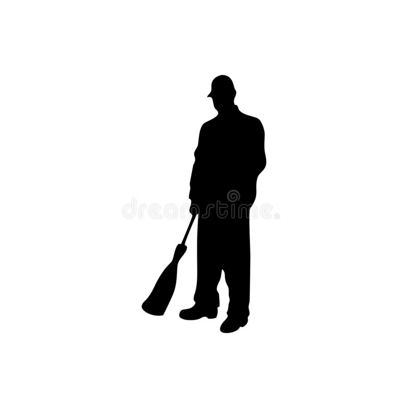 Portier mannelijk vectorsilhouet op witte achtergrond stock illustratie