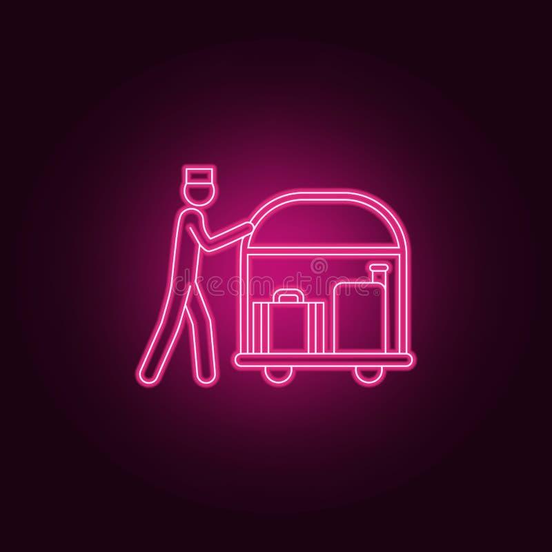 Portier mit Gepäckikone Elemente des Hotels in den Neonartikonen Einfache Ikone für Website, Webdesign, mobiler App, Informations lizenzfreie abbildung