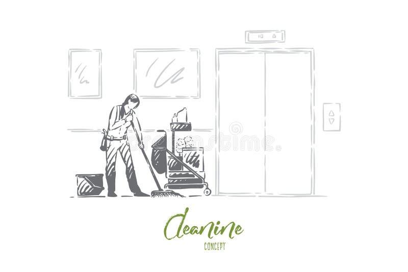 Portierberoep, anonieme jonge reinigingsmachine in eenvormige dweilende vloer, schoonmaakbeurtmateriaal, zwabber en detergentia stock illustratie
