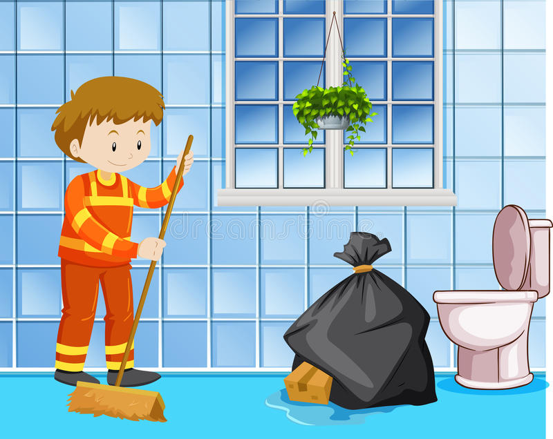 Portiere che pulisce pavimento bagnato nella toilette illustrazione di stock