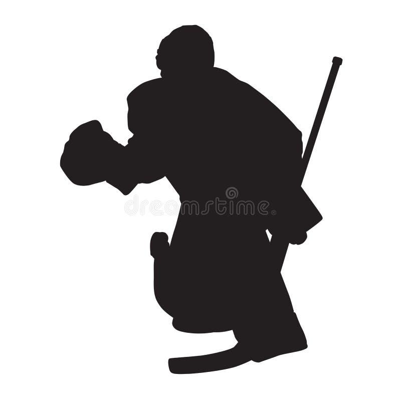 Portiere commovente del hockey su ghiaccio, siluetta di vettore illustrazione di stock