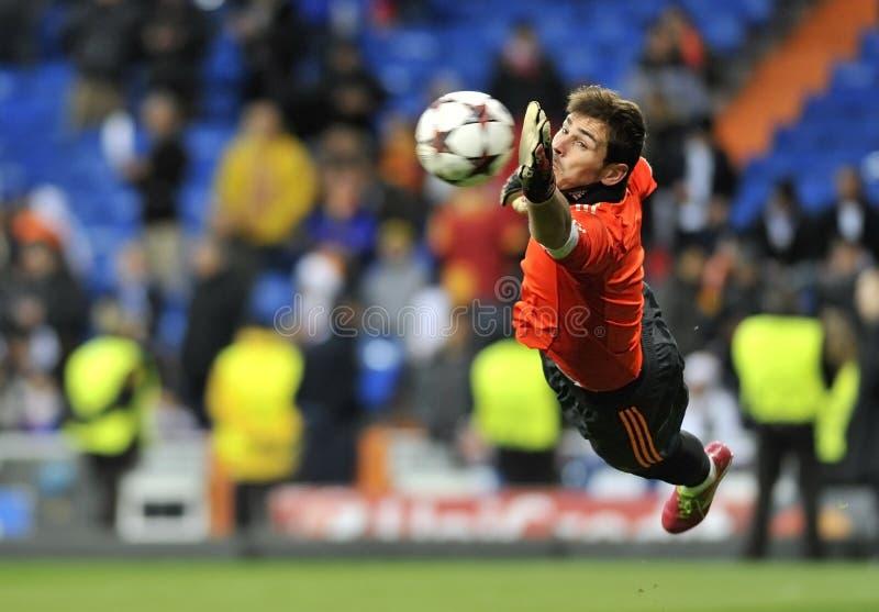 Portiere spagnolo del Real Madrid Iker Casillas nell'azione fotografia stock