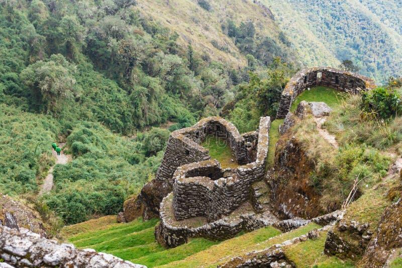 Portiers faisant leur manière le long de la traînée d'Inca, Pérou photos libres de droits
