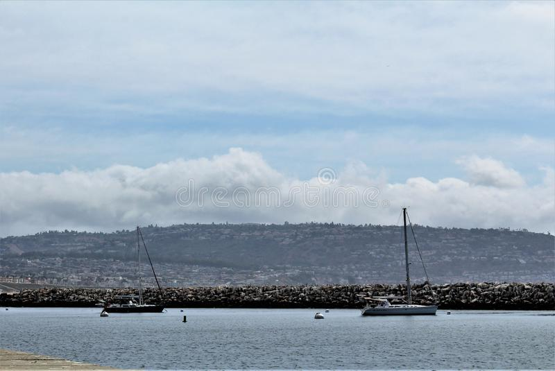 Portifino加利福尼亚海边在雷东多海滩,加利福尼亚,美国 免版税库存图片