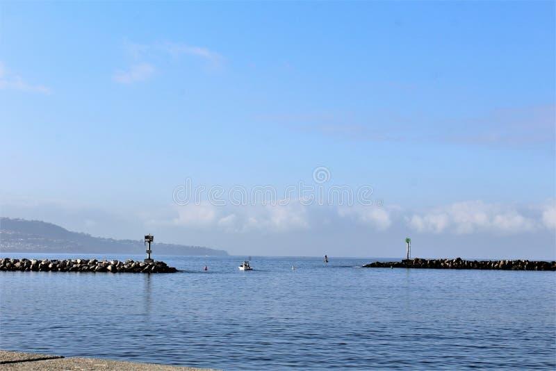 Portifino加利福尼亚海边在雷东多海滩,加利福尼亚,美国 免版税图库摄影