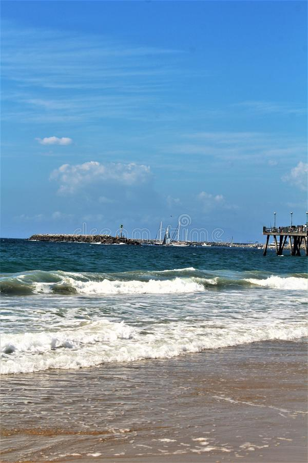 Portifino Kalifornia oceanside w Redondo plaży, Kalifornia, Stany Zjednoczone obrazy royalty free