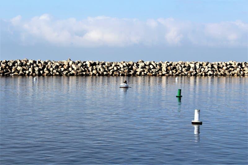 Portifino Kalifornien oceanside i Redondo Beach, Kalifornien, Förenta staterna arkivfoto