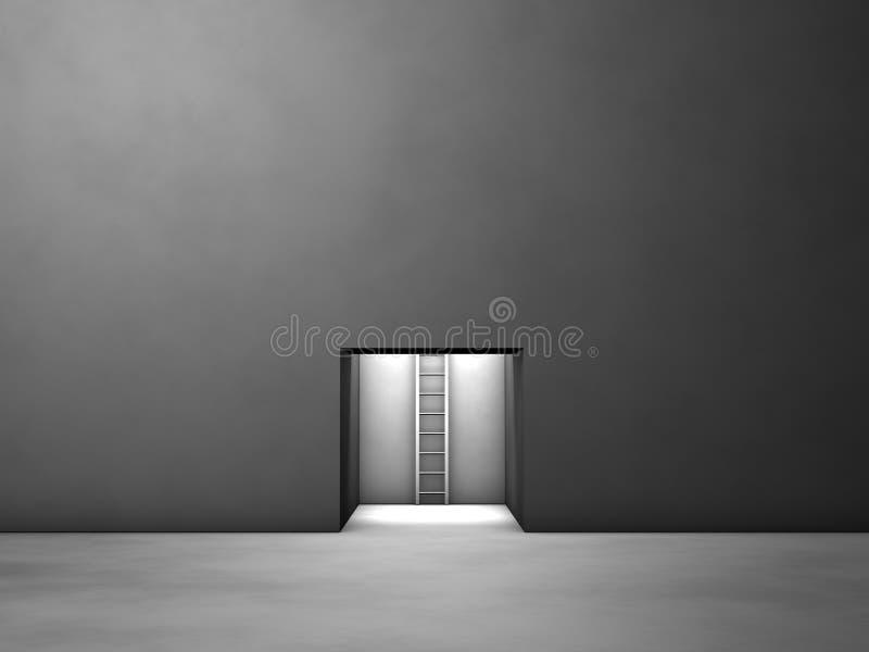 Portilla de escape del cuarto oscuro ilustración del vector