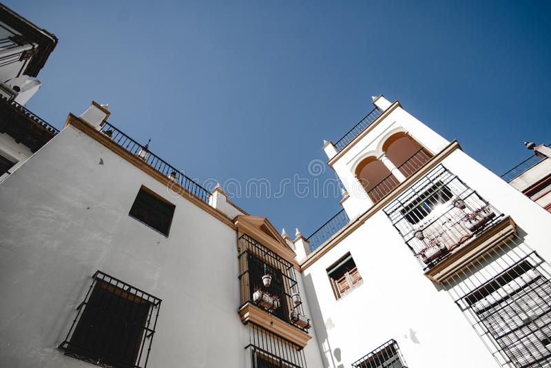 Portimao, Algreve, Portugal. The colorful streets and old architecture. Portimao, Algerve. Portuguese architecture. Colorful buildings of the Portuguese city stock photo