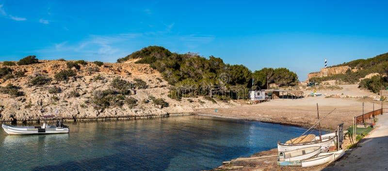 Portinatx,伊维萨岛海滩  免版税库存图片