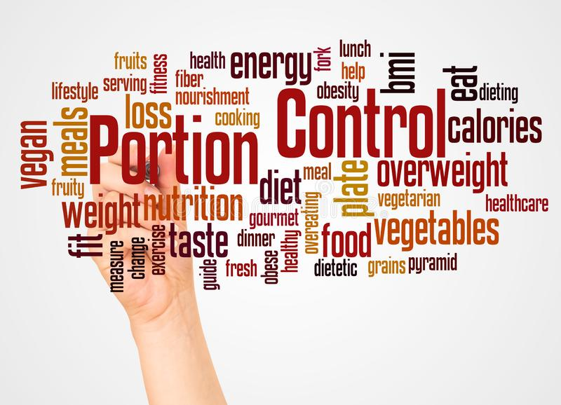Portion Control word cloud and hand with marker concept. On white background royalty free stock image