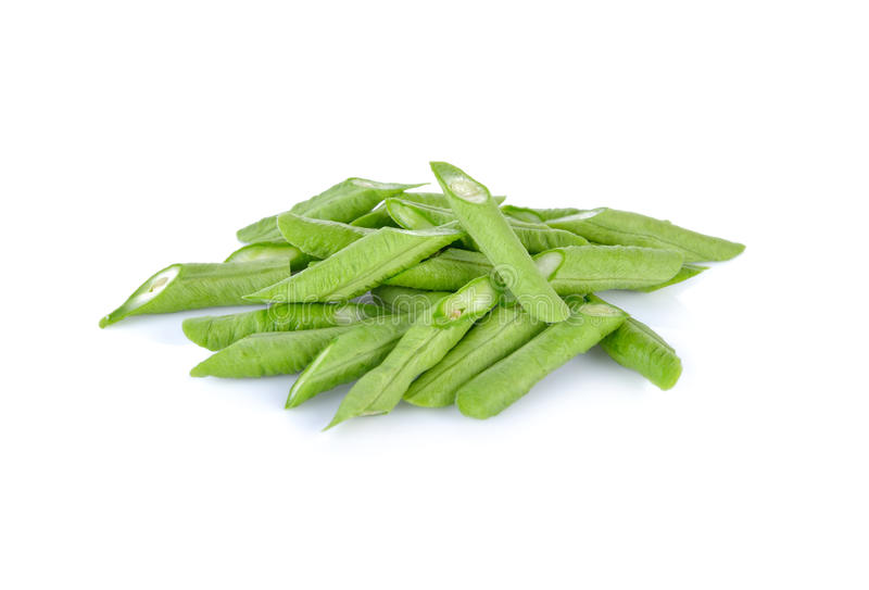 Portion cut fresh yard long bean on white background royalty free stock photos