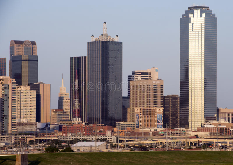 Portion of the Dallas Skyline from the West stock photos