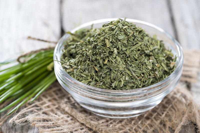 Portion of dried Chive. Small portion of dried Chive (close-up shot stock images