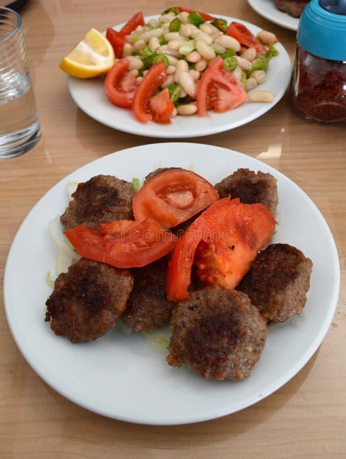 A Portion of Food Köfte in Kirklareli, Turkey stock photo