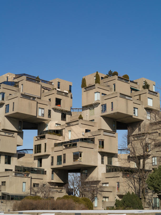 Habitat 67. A portion of the Habitat 67 model community and housing complex in Montreal,Quebec,Canada built origionally as a pavilion for Expo 67 Worlds Fair stock image