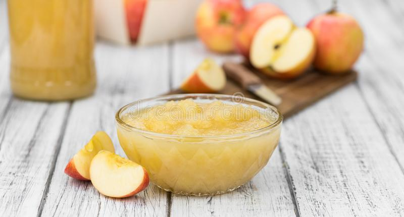 Portion of homemade Applesauce selective focus stock photos