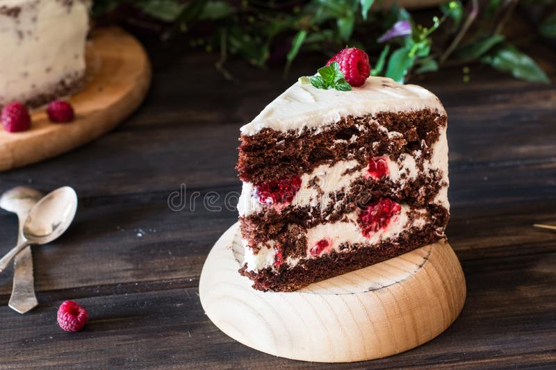 Portion of layered creamy fruit cake with in close up view. Raspberry cake with chocolate. Chocolate cake. Mint decoration. Cheesecake on wooden table. Still royalty free stock photography