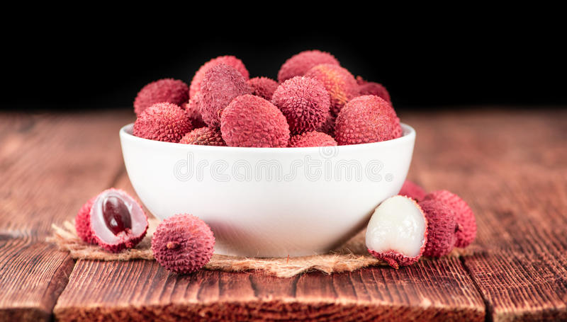 Portion of Lichee Fruits selective focus stock photos