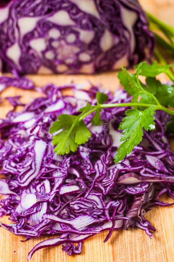 Portion of Red and parsley Coleslaw on white royalty free stock photos