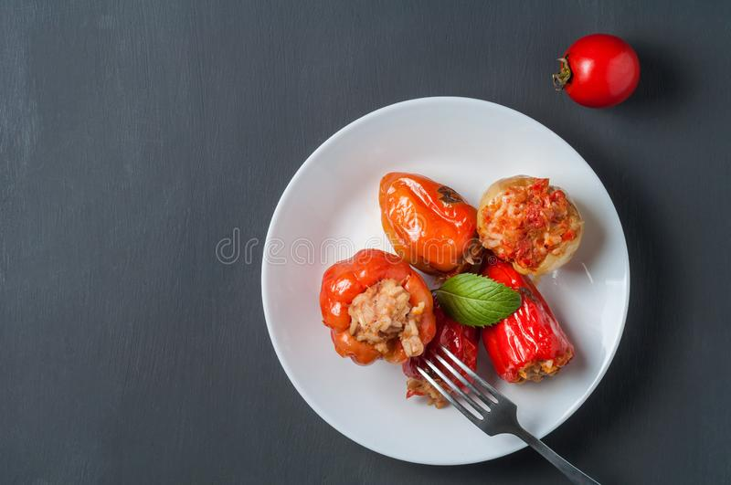 Portion of stuffed pepper, mint, on round white ceramic plate near metal fork, whole tomato lies on dark concrete table. Copy space. Top view royalty free stock photos