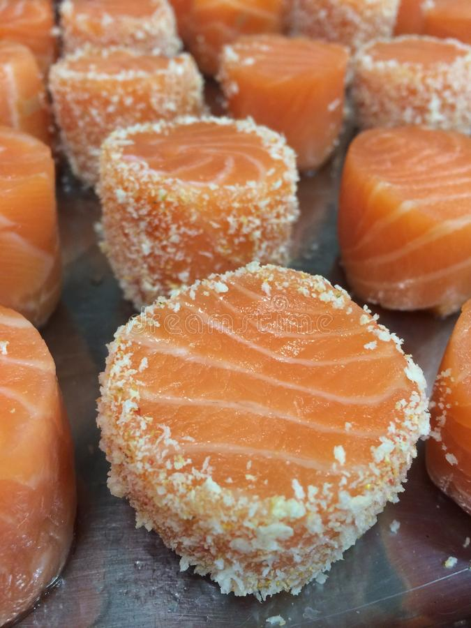 Portioned Salmon stock images