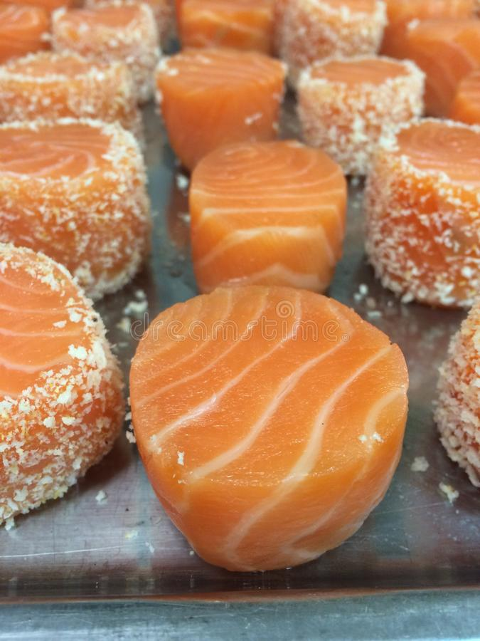 Portioned Salmon stock photos
