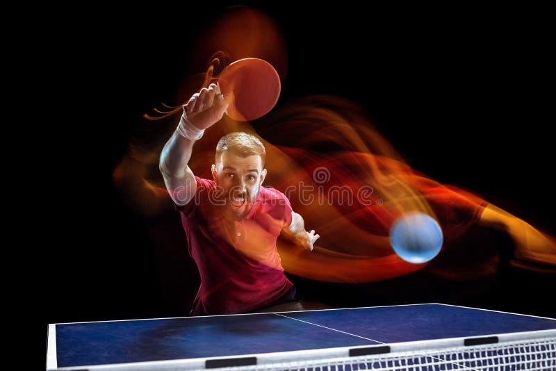 Portionen för bordtennisspelare arkivfoto