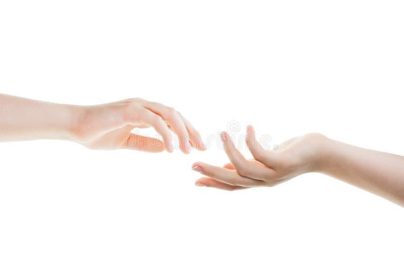 Portionhänder som isoleras på vit bakgrund arkivfoton