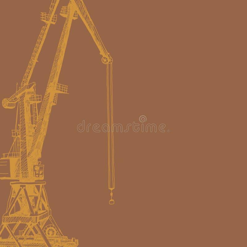 Portkranmaschinerie Gebäude-Turmbau Hand gezeichnete Skizzeillustration Orange Schattenbild auf braunem backgraund stock abbildung