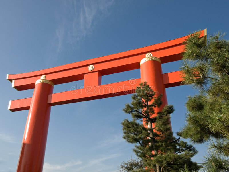 portkyoto torii arkivfoton