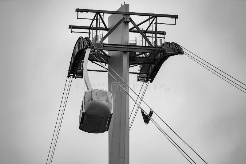 Portland Aerial Tram AirTram. Approaching intermediate tower near OHSU royalty free stock photography
