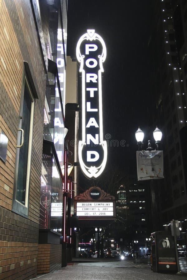 Portland assina dentro Portland do centro, Oregon ilustração do vetor
