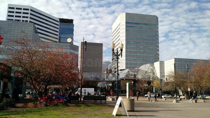 Portland autumn buildings stock images