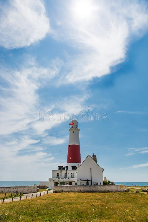 Portland Bill Lighthouse on a Bright Sunny Day with Blue Sky.  stock photography
