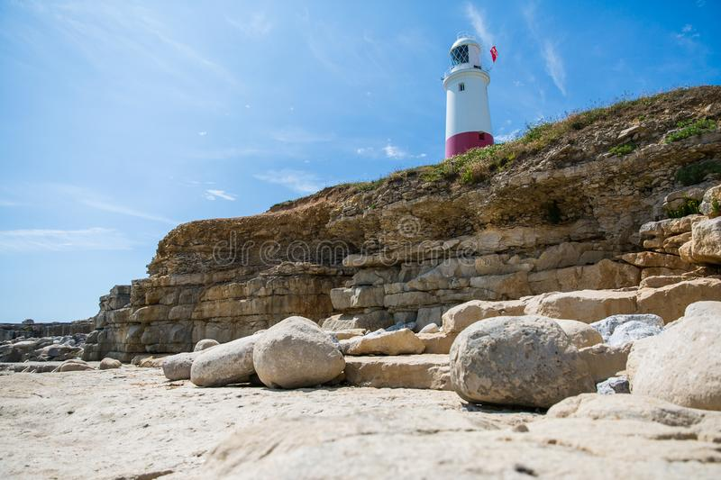 Portland Bill Lighthouse on a Bright Sunny Day with Blue Sky.  royalty free stock photos